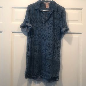 Philosophy Aztec style light denim like dress